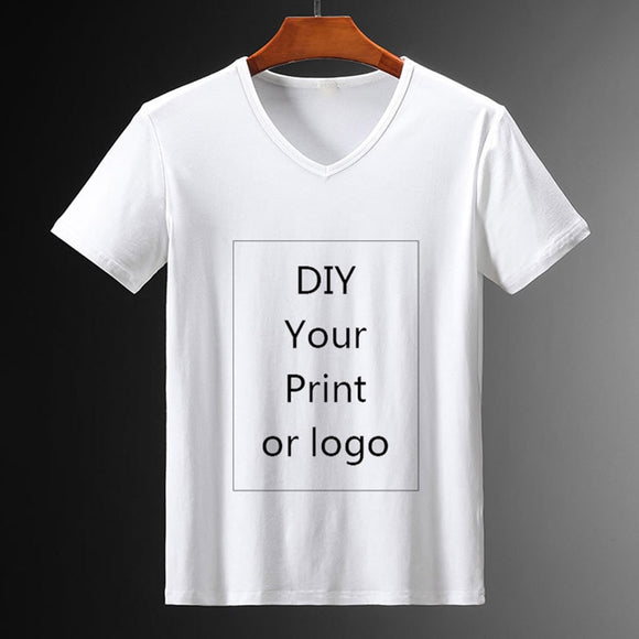 Customized Print  V-neck T Shirt for Men DIY Your Like Photo or Logo White Top Tees Women's and Men's Clothes Modal  T Shirt  MartLion