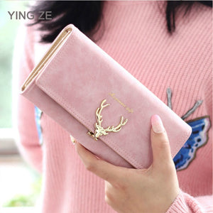 Cute Deer Women Wallet Long Leather Purse Girl Folding Wallets Clutch Pu Card Holder Ladies Purses Retro Portfel Damski - Mart Lion  Best shopping website