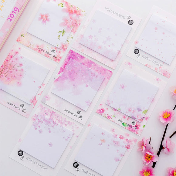 Cute Kawaii Cherry blossoms Memo Pad Sticky Notes Stationery Sticker Posted It Planner Stickers Notepads Office School Supplies  MartLion.com