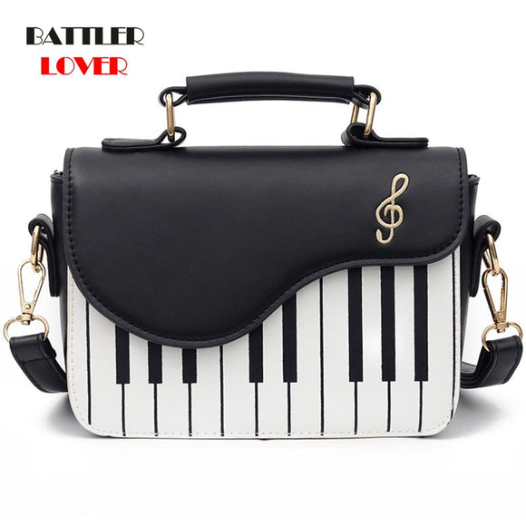 Cute Piano Pattern Fashion PU Leather Casual Ladies Handbag Shoulder Bag Crossbody Messenger Bag Pouch Totes Women's Flap bolsas