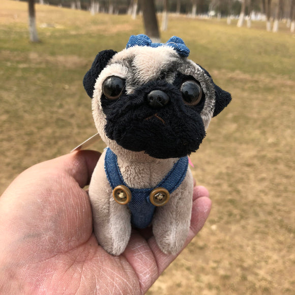 Cute Shar Pei Pug Jeans Denim suspenders plush toy christmas Mini dog keychain charms - Mart Lion  Best shopping website