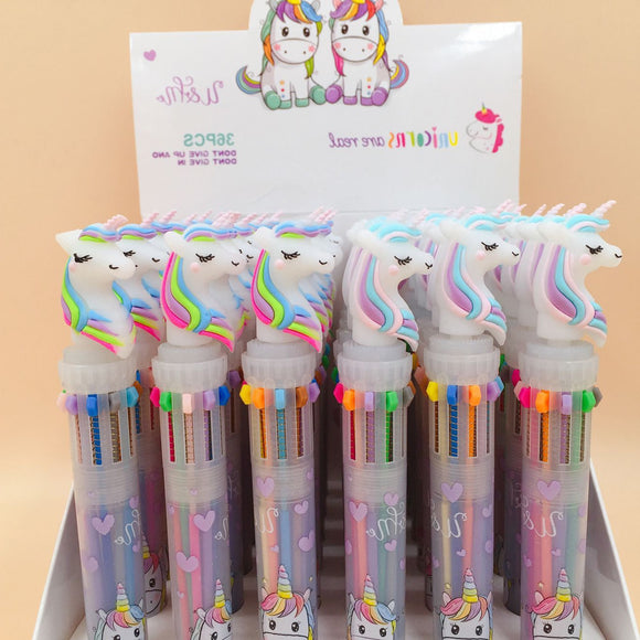 Cute Unicorn Power 10 Colors Chunky Ballpoint Pen Kawaii Rollerball Pen School Office Supply Gift Stationery Papelaria Escolar  MartLion