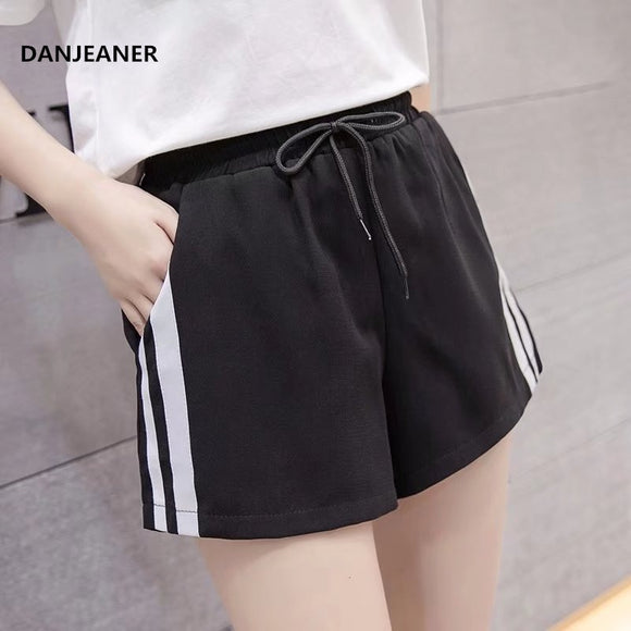 DANJEANER Striped Side Drawstring Shorts 2019 Summer Elastic Waist Athleisure Shorts Women Black Mid Waist Sporting Shorts  MartLion