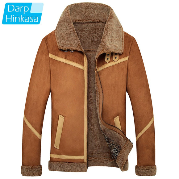 DARPHINKASA 2020 Winter Pilot Jacket Men Air Force Pilot Men Jacket Warm Fur Collar Men Thick Fleece Jacket