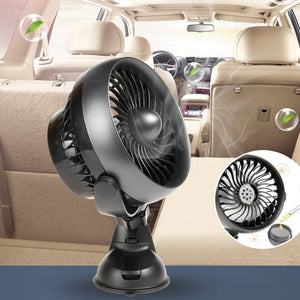 DC 12V Mini Electric Car Fan Suction Cup Auto Air Fan Car Air Conditioner 360 Degree Rotating Strong Wind Cooler 2 Colors  MartLion