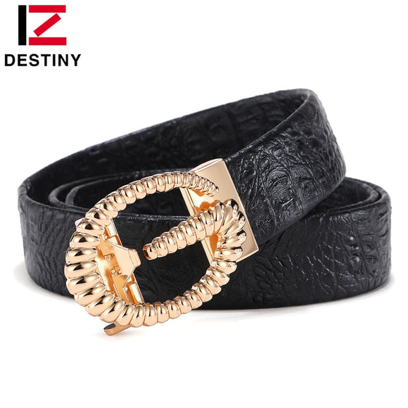 DESTINY Designer Belts Men High Quality Male Genuine Leather Strap Luxury Famous Brand G Belt Crocodile Silver Gold Ceinture GG