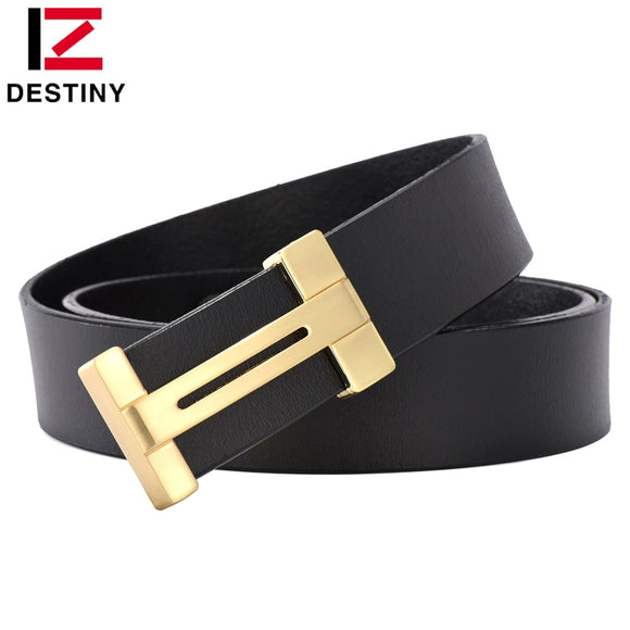 DESTINY Luxury Belt Men Famous Brand Designer Male Genuine Leather Strap High Quality Fashion Classice Vintage Belts Gold Silver