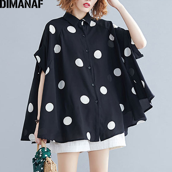 DIMANAF Plus Size Women Blouse Shirt Big Size Summer Casual Lady Tops Tunic Print Polka Dot Loose Female Clothes Batwing Sleeve  MartLion