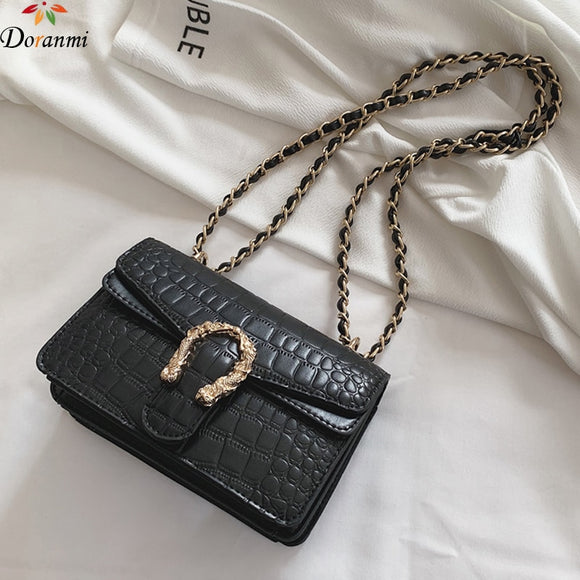 DORANMI Alligator Chain Strap Women's Bags Flap 2019 Luxury Brand Designer Square Leather Shoulder Bag Crossbody Messenger JB423  MartLion