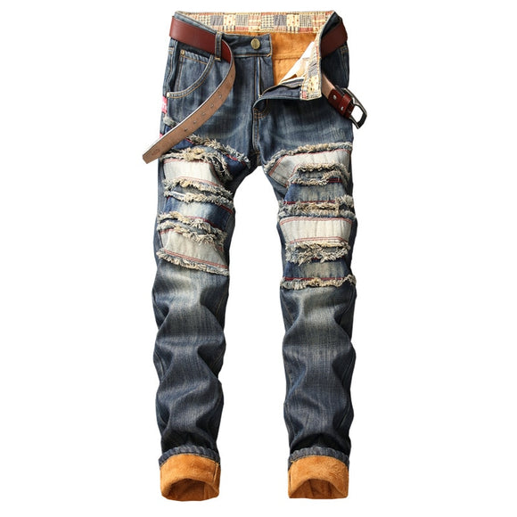 Denim Keep Warm Designer Hole Jeans Men High Quality Ripped for Men Size 38 40 2019 Autumn Winter Plus Velvet HIP HOP Streetwear - Mart Lion  Best shopping website