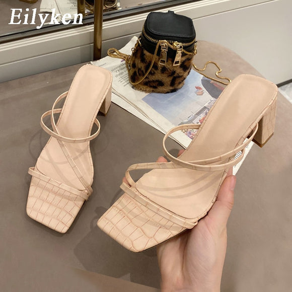 Eilyken 2020 New Women Fashion Slipper Square High Heel Classics Strap Sandal Ladies Elegant New Summer Bohemian Pumps Slides  MartLion.com