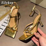 Eilyken Gladiator Sandals High Heels Shoes Fall Best Street Look Females Square Head Open Toe Clip-On Strappy Sandals  Women  MartLion
