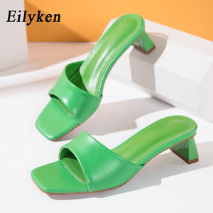 Eilyken Summer Women Slippers Slides Open Toe Low High heels Shoes Sandal Female Leisure Beach Green White Flip Flops size 41 42  MartLion