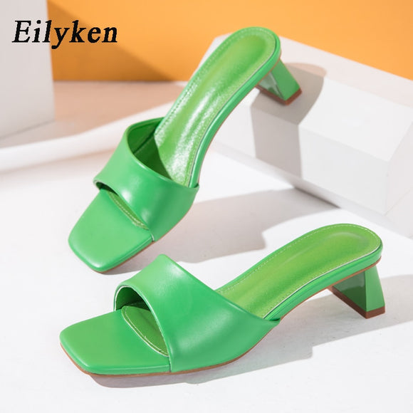 Eilyken Summer Women Slippers Slides Open Toe Low High heels Shoes Sandal Female Leisure Beach Green White Flip Flops size 41 42