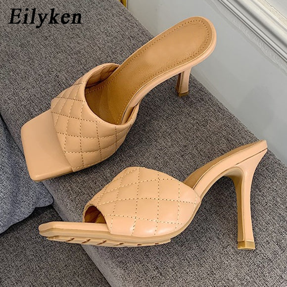 Eilyken Women Mules Summer Slippers Fashion High Quality Sandals sandals Ladies Design Square Toe Stiletto Heels Wedding Shoes  MartLion.com