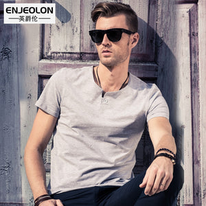 Enjeolon Brand 2019 T Shirt Men Summer Short Sleeved Solid Color White Slim Fit Casual Male Tops Plus Size 4XL Tee Shirt T1531  MartLion