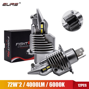 Eurs Fighter Foco H4 Led Bulbs Car/motorcycle Headlight 72W 12V 24V 6000K Super Led H4 Car headlight Bulbs lampada Led H4 8000LM  MartLion