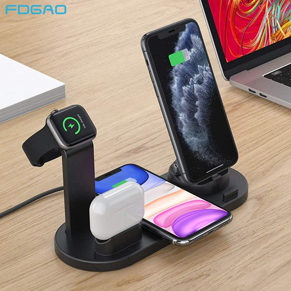 FDGAO Qi Wireless Charger Dock Station For Apple Watch iPhone 11 Pro XS XR 8 7 6S Plus Airpods Pro 10W Fast Charging Base Stand