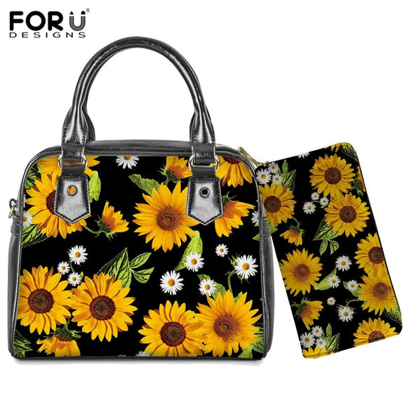 FORUDESIGNS Women Leather Shoulder Bags for Ladies Sunflowers Print Handbags&Wallet 2pcs/set Top-Handle Bags Crossbody Bag  MartLion