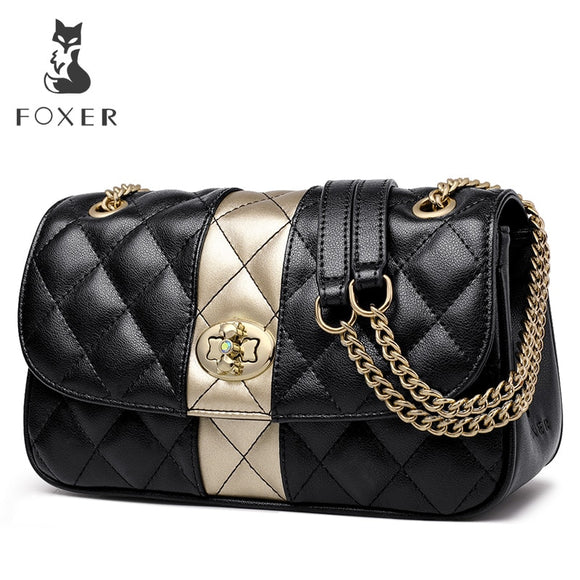 FOXER Women Chain Strap Messenger Bag Diamond Lattice Flap Lady High Quality Leather Ladies' Shoulder Bags Valentine's Day Gift - Mart Lion  Best shopping website