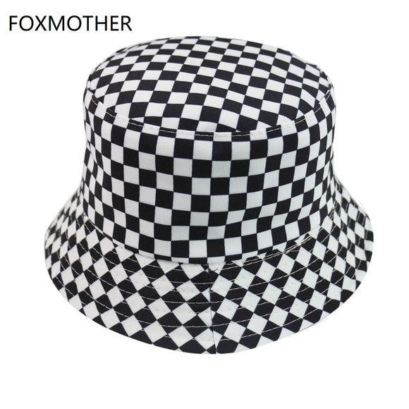 FOXMOTHER New Black White Plaid Check Bucket Hats Fishing Caps Women Mens - Mart Lion  Best shopping website