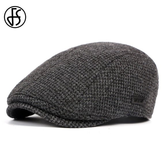 FS Mens Flat Cap Beret Hat Women Soft Newsboy Caps Winter Black Gastby Ivy Knitted Hats British Western Gatsby Berets Caps