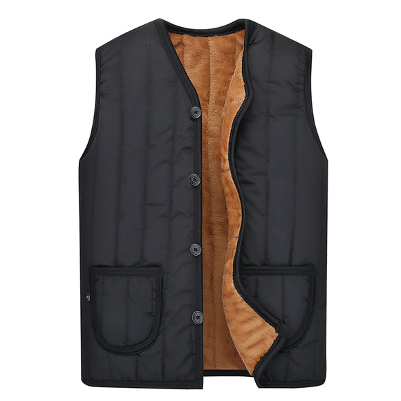 Fall Winter Man Casual Vest Slim Pockets Retro Style Imitation Wool Thick Warm Men Simple Designed Fashion Quality Outwear  MartLion