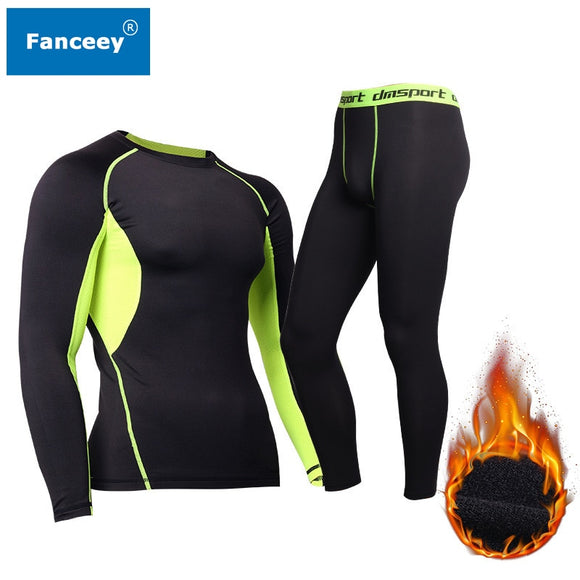 Fanceey Winter Thermal Underwear Men Keep Warm Long Johns Men Fitness Compression Underwear Thermo Undershirts Leggings Fleece