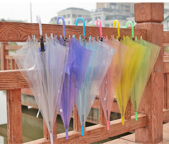 Fashion Colorful Semi-automatic Long-handle Straight  handle Clear Rain Umbrella - Mart Lion  Best shopping website