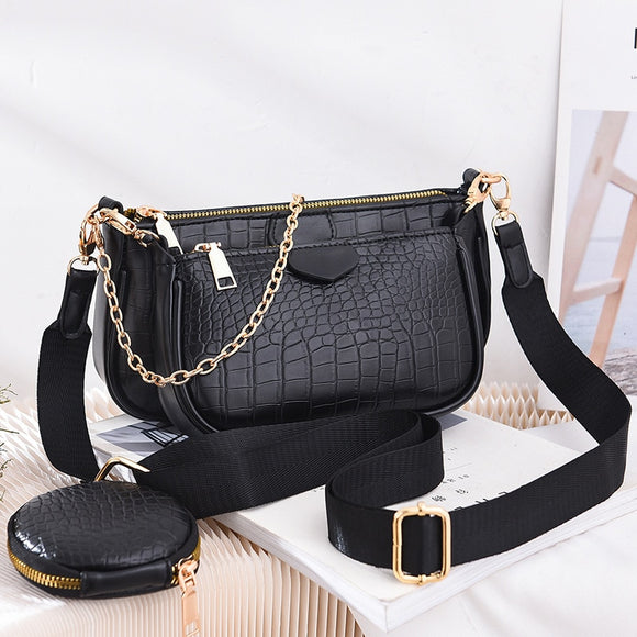 Fashion Crocodile pattern Women's Shoulder Bag Designer 3 pcs/Set Chain Crossbody Messenger Bags Lady Alligator Wide Strap Purse