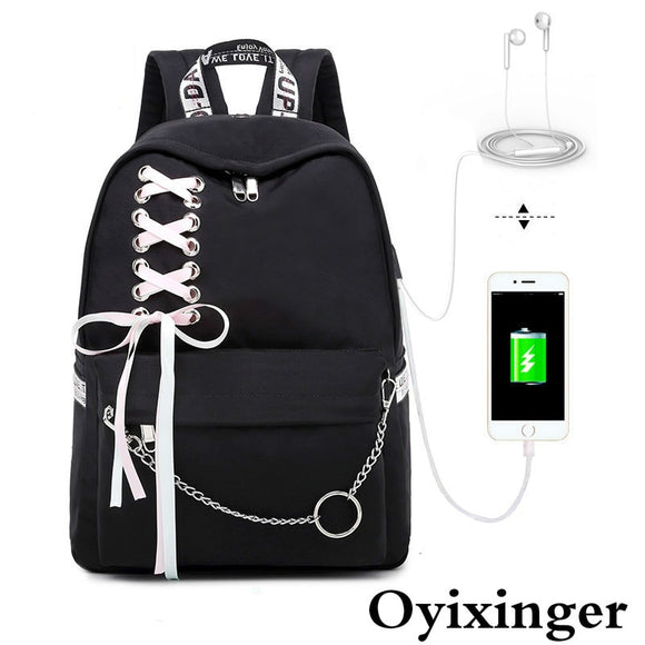 Fashion Girls Laptop Student Shoulder Bag Women's Backpack Women Backpacks Bags For School Teenager Girl Ribbon Chain Decoration - Mart Lion  Best shopping website