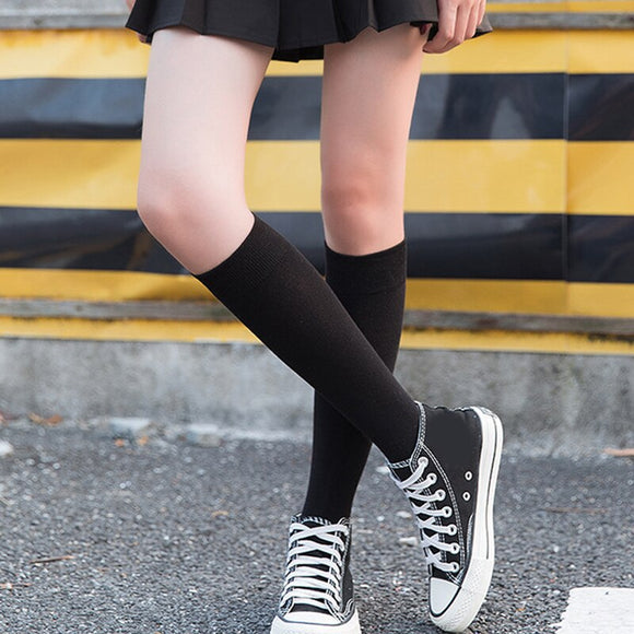 Fashion Lady Calf Socks Autumn And Winter New Solid Color Over The Knee Socks Japanese College Wind Stockings Socks  MartLion