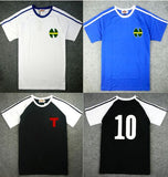 Fashion Men's Shirts oliver atom With number 10, Captain Tsubasa Jerseys,ATOM blue football ATTON Men's Japanese clothes  MartLion