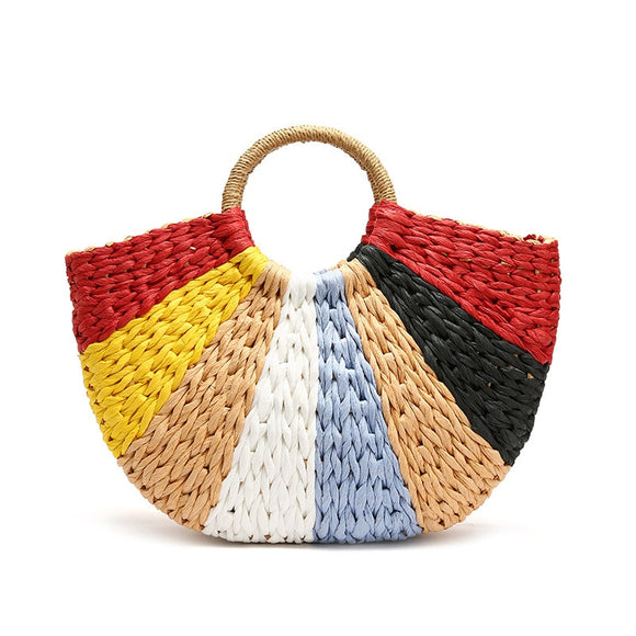 Fashion New color patchwork straw bag Hand-woven bag Simple retro casual handbag big bag