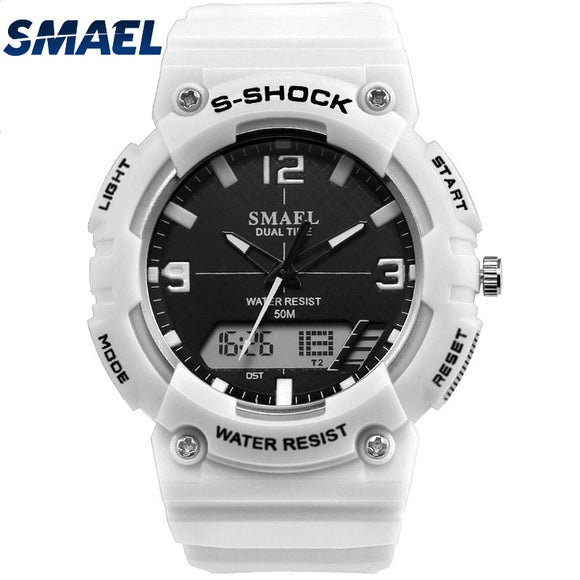 Fashion Smael Top Brand Military Sport Watches For Men Quartz High Quality Fashion Cool Black White Watch Big Dial Digital Led  MartLion.com