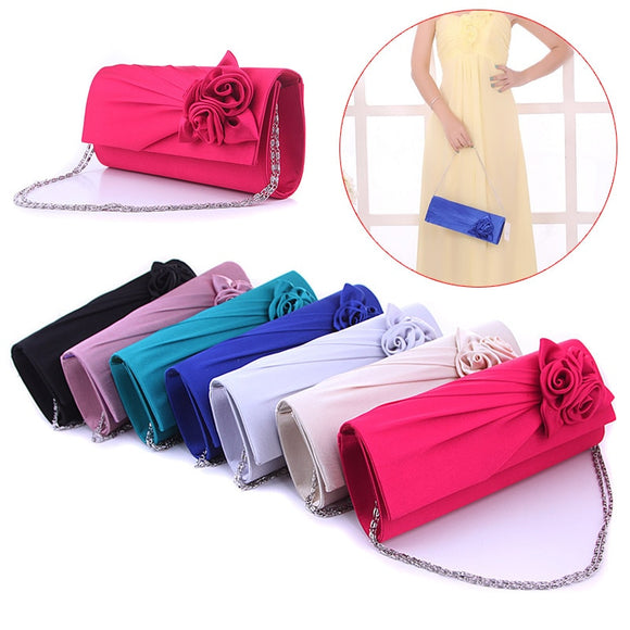 Fashion Women Evening Party Clutch Bag Purse Wallet Satin Prom Wedding Handbag with Chain FA$B Women bag  MartLion