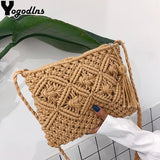 Fashion Woven Shoulder Bags Straw Summer Women Weave Crossbody Beach Travel Handbag Female Bag Women Messenger Bags Bolsa