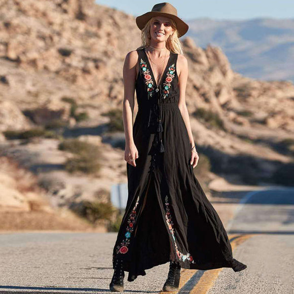 FollowYouLike Long Black Embroidery Bohemia Dress Women 2019 Sleeveless Sexy V Neck  Maxi Dress Boho A Line Beach Dress Tunic  MartLion.com