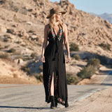 FollowYouLike Long Black Embroidery Bohemia Dress Women 2019 Sleeveless Sexy V Neck  Maxi Dress Boho A Line Beach Dress Tunic  MartLion