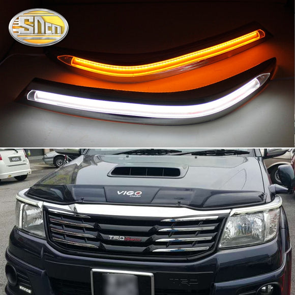 For Toyota Hilux 2012 2013 2014, LED Headlight Brow Eyebrow Daytime Running Light DRL With Yellow Turn signal Light  MartLion