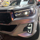 For Toyota Hilux Revo Rocco 2018 2019 DRL LED Daytime Running Lights Diglight 12V ABS Fog lamp Cover With Turn Yellow Signal  MartLion