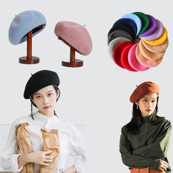 French Style Vintage Plain Beret Cap Beanie Hat Unisex Women Girls Wool Warm Winter Hat Beret Femme Hats Caps - Mart Lion  Best shopping website