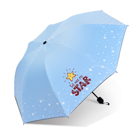 Fresh Cartoon Sun Parasol Three-folding 8K Women Umbrella Manual Big Windproof and Waterproof Conventional Umbrella for Men  MartLion.com
