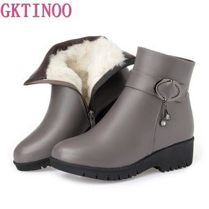 GKTINOO Snow Boots Soft Leather Women's Shoes Mother Ladies Female Winter Wool Fur Wedges Warm Boots Plus Size 35-43  MartLion