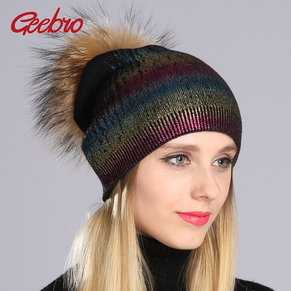 Geebro Winter Women's Beanies Hat Casual Warm Knitted Wool Beanies With Real Fur Pom Pom Ladies Raccoon Fur Pompons Hat DQ050  MartLion