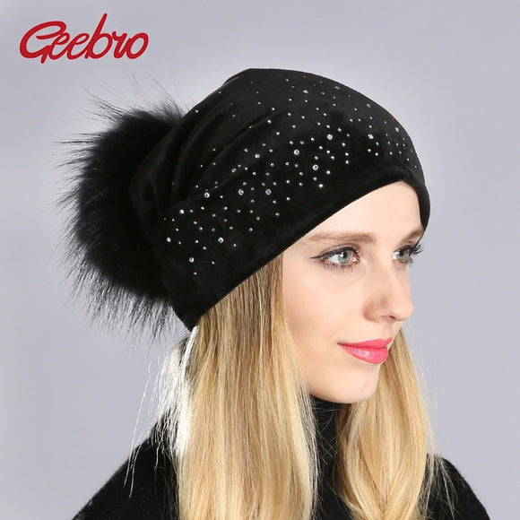 Geebro Winter Women's Pom Pom Beanie Hat and Neck Scarf Casual Casual Velvet Rhinestones Beanies Hat With Raccoon Pompons DQ026  MartLion