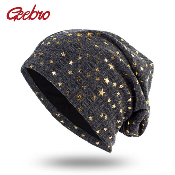 Geebro Women's Bronzing Star Beanies Hat Spring Cotton Slouchy Beanie for Women Ladies Comfortable Skullies Hats Bonnets Cap  MartLion