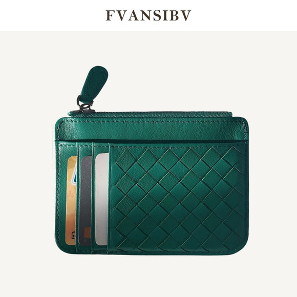 Genuine Leather Woven Holder Women's Lambskin Zipper Purse Brand Men's Card Holder Ultra-Thin Fold Wallet Coin Pocket 2019 New