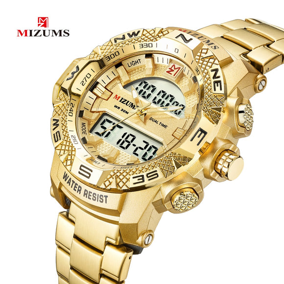 Gold Watch Men LED Digital Sports Watches Man Waterproof Stainless Steel Band Luxury Brand Mizums Men's Quartz Wristwatch XFCS  MartLion.com
