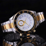Gold Watch Men Rotatable Bezel Sapphire Glass Stainless steel Band Sport Quartz WristWatch reloj relogio - Mart Lion  Best shopping website